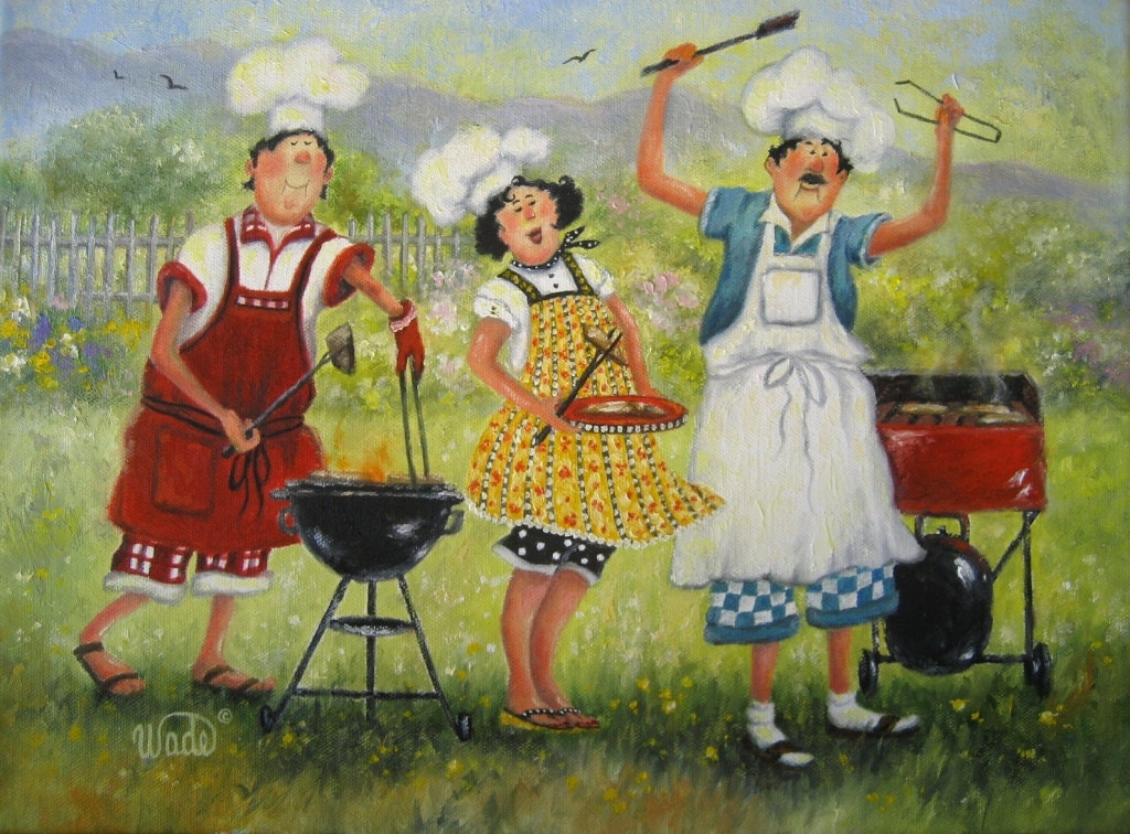 Picnic Chefs Art Print Fat Chefs Chef Paintings Chef Art