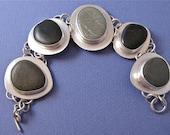 Black and gray river rock sterling silver bracelet