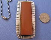South of the Border Red Aventurine Stamped sterling silver Pendant Necklace