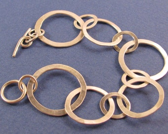 Hammered sterling silver chain bracelet-multi-sized links