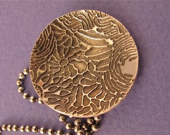 Etched sterling silver pendant necklace on ball chain