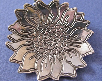 Medium etched sterling silver sunflower pendant necklace