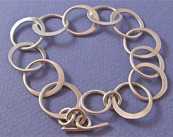 Half-hammered satin finish sterling silver medium link chain bracelet