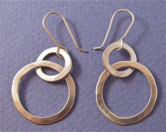 Hammered sterling silver two-link dangle drop earrings