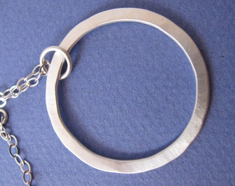 Large sterling silver hammered circle pendant necklace