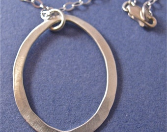 Hammered sterling silver teardrop pendant