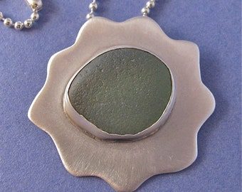 Green beach glass sterling silver pendant necklace