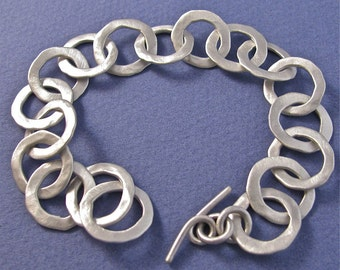 Hammered satin finish sterling silver heavy metal chain bracelet