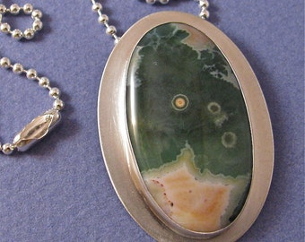 Oval ocean jasper sterling silver pendant necklace