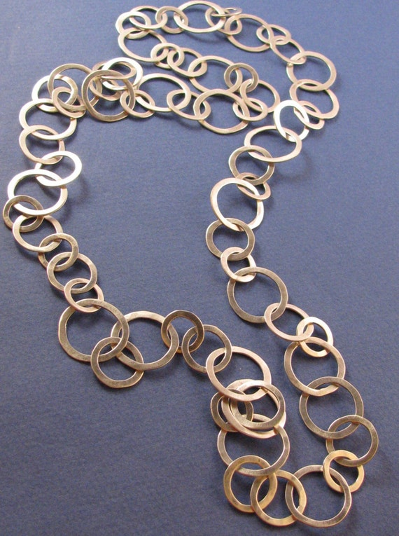 Hammered sterling silver long chain necklace 3 sizes links