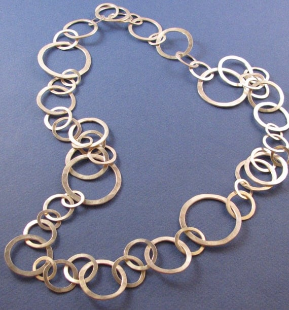 Hammered sterling silver chain necklace-long 4 sized links