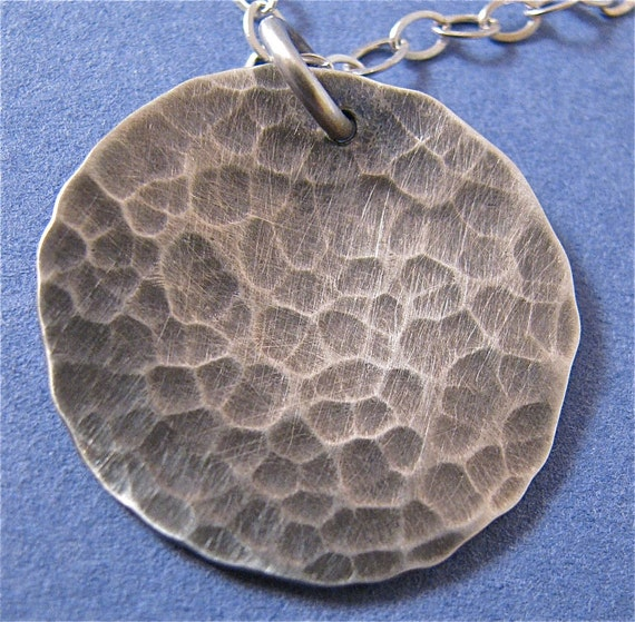 Hammered, oxidized sterling silver disk pendant necklace