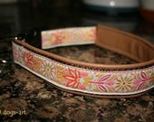 dogs-art Pinwheel Zinnia Easy Release Buckle Leather Collar brown/brown/yellow-pink