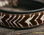 Handmade Martingale Chain Leather Dog Collar ZEBRA by dogs-art in black/brown/brown