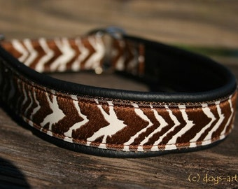 "Dog Collar ""Zebra"" by dogs-art, martingale collar, zebra, animal print, leather dog collar, dog collar leather, black leather collar, dog"