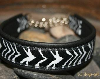 Handmade Martingale Chain Leather Dog Collar ZEBRA by dogs-art in black/black/black