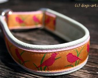 "Dog collar ""Birdies"" by dogs-art, leather slip collar, dog collar with bird, colorful dog collar, floral dog collar, leather dog collar"