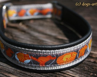 """Dog Collar """"Potty Parade"""" by dogs-art, martingale collar, leather dog collar, comic, funny dog collar, puppy dog collar, potty collar, dog"""