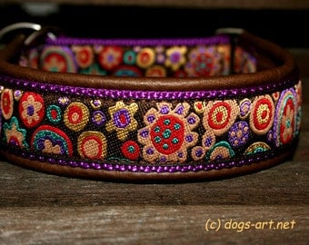 """Dog Collar """"Flower Power"""" by dogs-art, martingale collar, dog collar leather, brown leather collar, doberman, limited slip collar, collars"""
