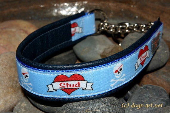 SALE - Handmade Martingale Chain Leather Dog Collar STUD by dogs-art in dark blue/blue/stud