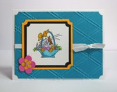 Fluffles Easter Basket Stamped Greeting Card