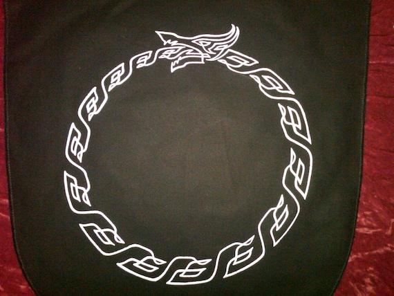 Oroboros Dragon Serpent Banner Silver on Black