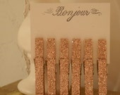 SET OF 6 FRENCH INSPIRED LIGHT PINK GLITTERED CLOTHES PINS