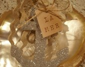 Silver Hand Glittered Anchor/Ric Rac/La Mer Antiqued Tag
