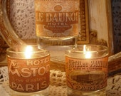 THE HOTEL COLLECTION Trio  of Vintage French Hotels  Petite Glass Votive/ Candleholders