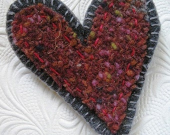 Embroidered Felt Love Brooch