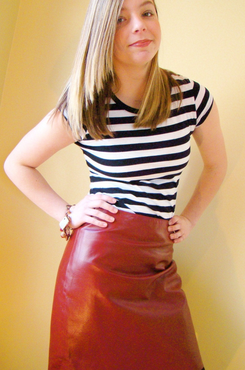 REDUCED The RED Leather Skirt
