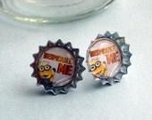 Mighty Minions Mini Bottle Cap Earrings