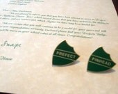 "Prefect Letter with both ""Prefect"" & ""Pinhead"" Badges Personalized"