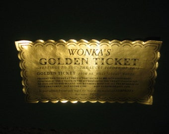 12 Custom Willy Wonka Golden Tickets as Birthday Invitations
