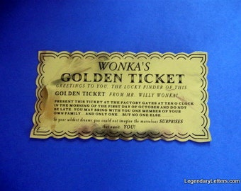 Willy Wonka Golden Ticket Custom Prop Replica (vintage)