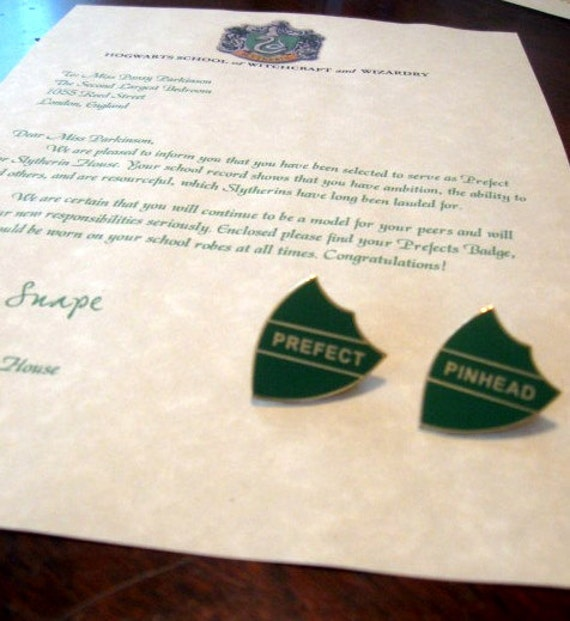 """Prefect Letter with both """"Prefect"""" & """"Pinhead"""" Badges Personalized"""