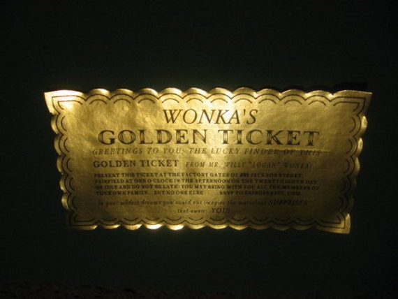 Custom Willy Wonka Golden Tickets as Birthday Invitations
