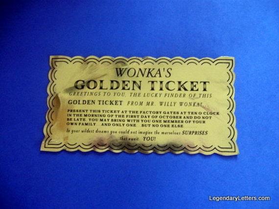Willy Wonka Golden Ticket Custom Prop Replica (vintage)