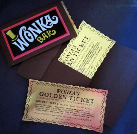 12 Deluxe Willy Wonka Golden Tickets as Birthday Invitations