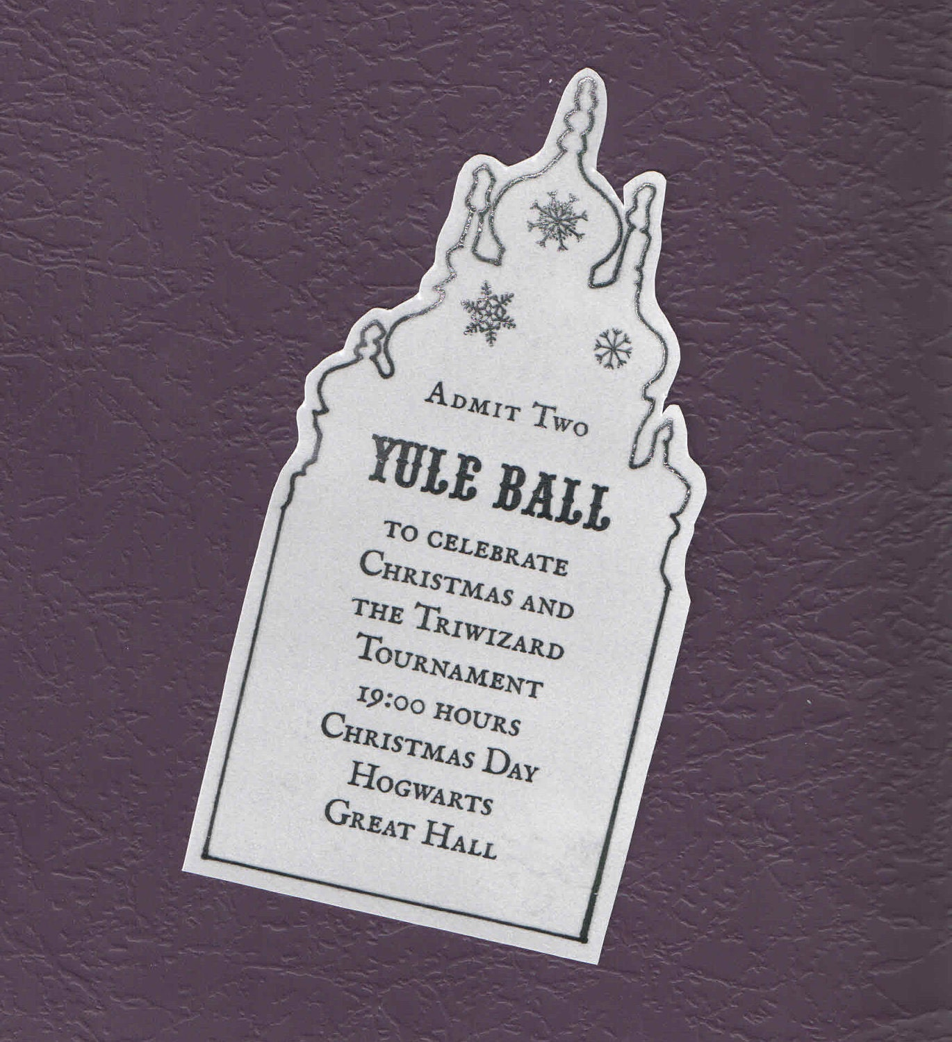 yule ball ticket replica prop witch or wizard. Black Bedroom Furniture Sets. Home Design Ideas