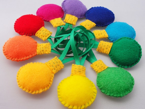 Christmas Ornaments / Tags - Set of 10 Felt Bulbs