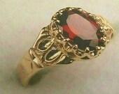 Victorian Garnet 14K Solid Yellow Gold & Oval Wine Red Natural Almandite Garnet Engagement or Wedding Ring