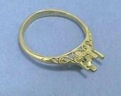 14K Art Nouveau Engagement Ring Setting, Yellow Gold Filigree Antique, Diamond Mounting for 5.5 mm (.60 Carats) Diamond