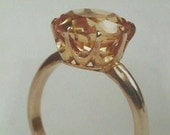 Victorian 14K 10 mm 3.50 Carats Yellow Gold Antique Solitaire Ring Mounting Setting for Round Brilliant Cut Diamond or Colored Gemstone