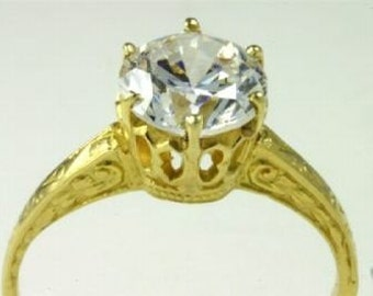 Edwardian 18K Antique Yellow Gold Filigree Engagement Setting Ring for 6.5mm Mounting for 1 One Carat Diamond, Vintage Setting Mounting
