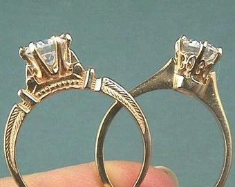 Victorian .55 Ct. 14K Rose Gold Engagement Ring...Circa 1880 Antique Man Made Diamond Simulant Round Brilliant Cut Stone