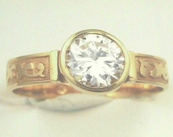 18K Antique Victorian Ring, set with 1.25 Carats 7mm  Round Brilliant in Filigree Bezel Setting