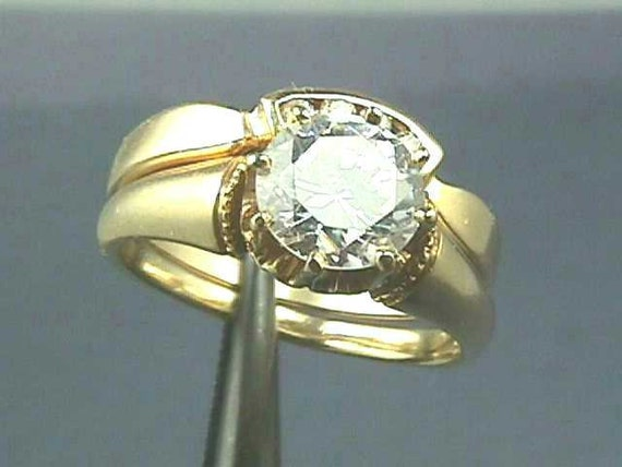 Vintage 2 Piece 14K Engagement Ring Wedding Set by jewelry1910