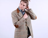 Mens Skinny Jacket with Elbow Patches /70s Equestrian Sport Coat / M