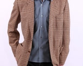 Retro Mens Jacket / Brown Checked Vintage Cashmere Jacket / M to L